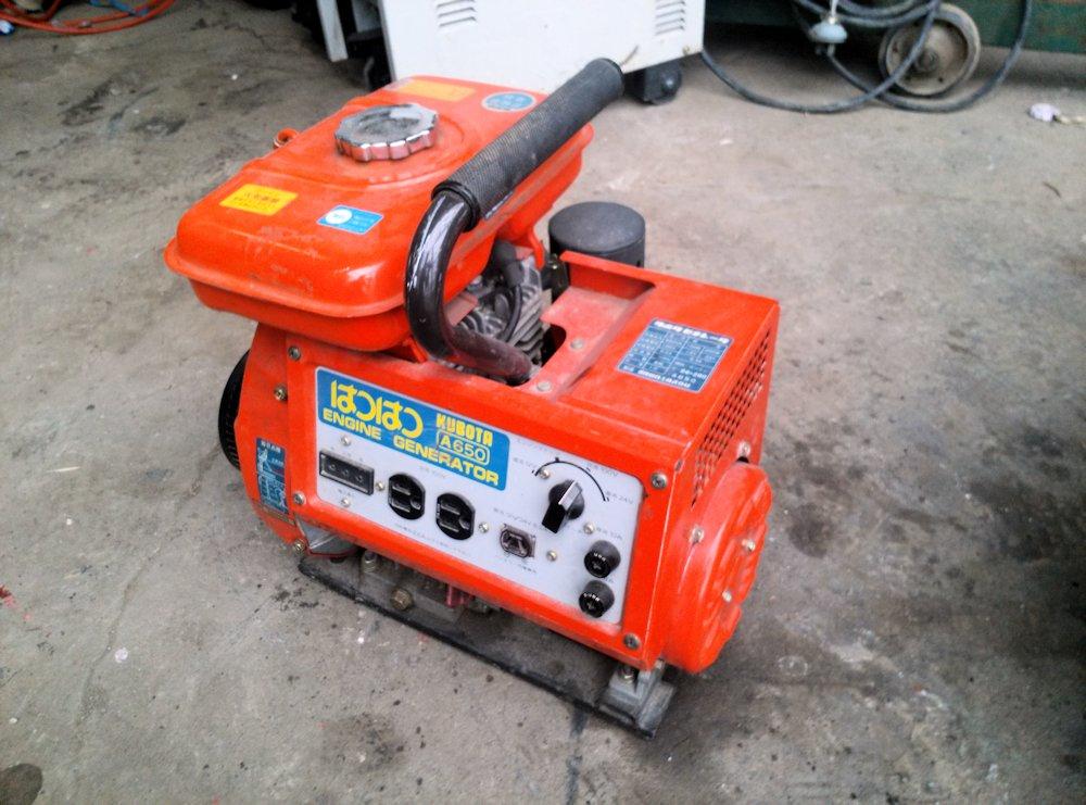 クボタ エンジン式 発電機 50Hz バッテリー 12V/24V 充電可 A650 実働 美品 中古