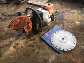 スチール エンジンカッター コンクリート アスファルト 本体ジャンク 乾式420 ハスクバーナ ダイアモンドブレードセット