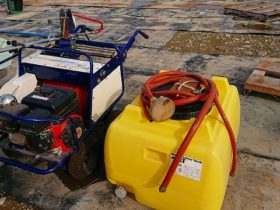 アリミツ 有光 ポニースプレー 自走式キャリー動噴 中古 ATC-643M 動力噴霧機 ホース自動巻取 動噴型式SR-405 消毒機械 200タンク付 離農品 実働