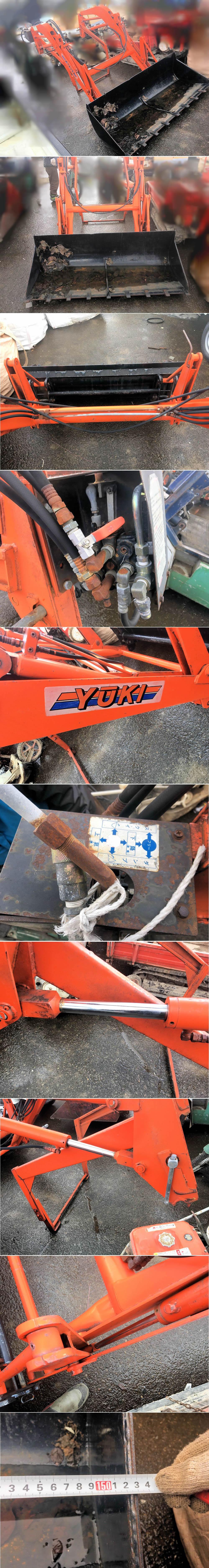 フロントローダー 中古 ドッキング グレイタス トラクター用 1500mm 操作部あり バケット オイル漏れ無し 油圧シリンダー状態良好 現状 中古