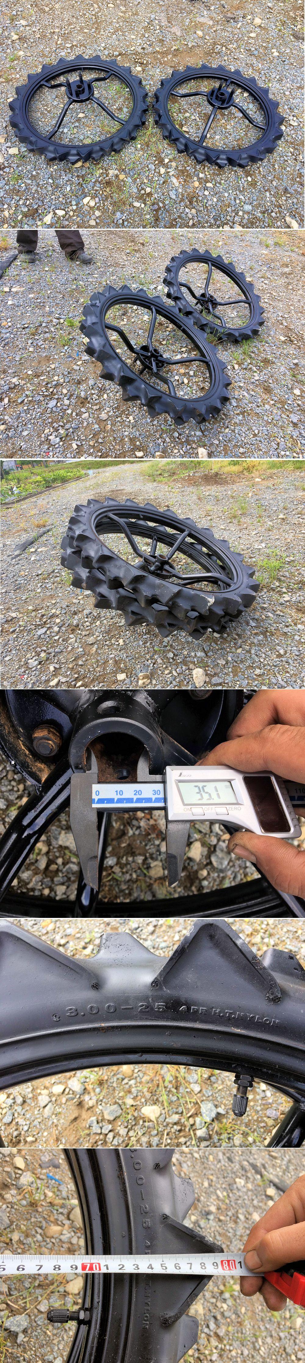 三菱 田植機 中古補助車輪 タイヤ 幅800mm MPR等 3.00-25 社外ブリヂストン 内径 35mm 取付軸付